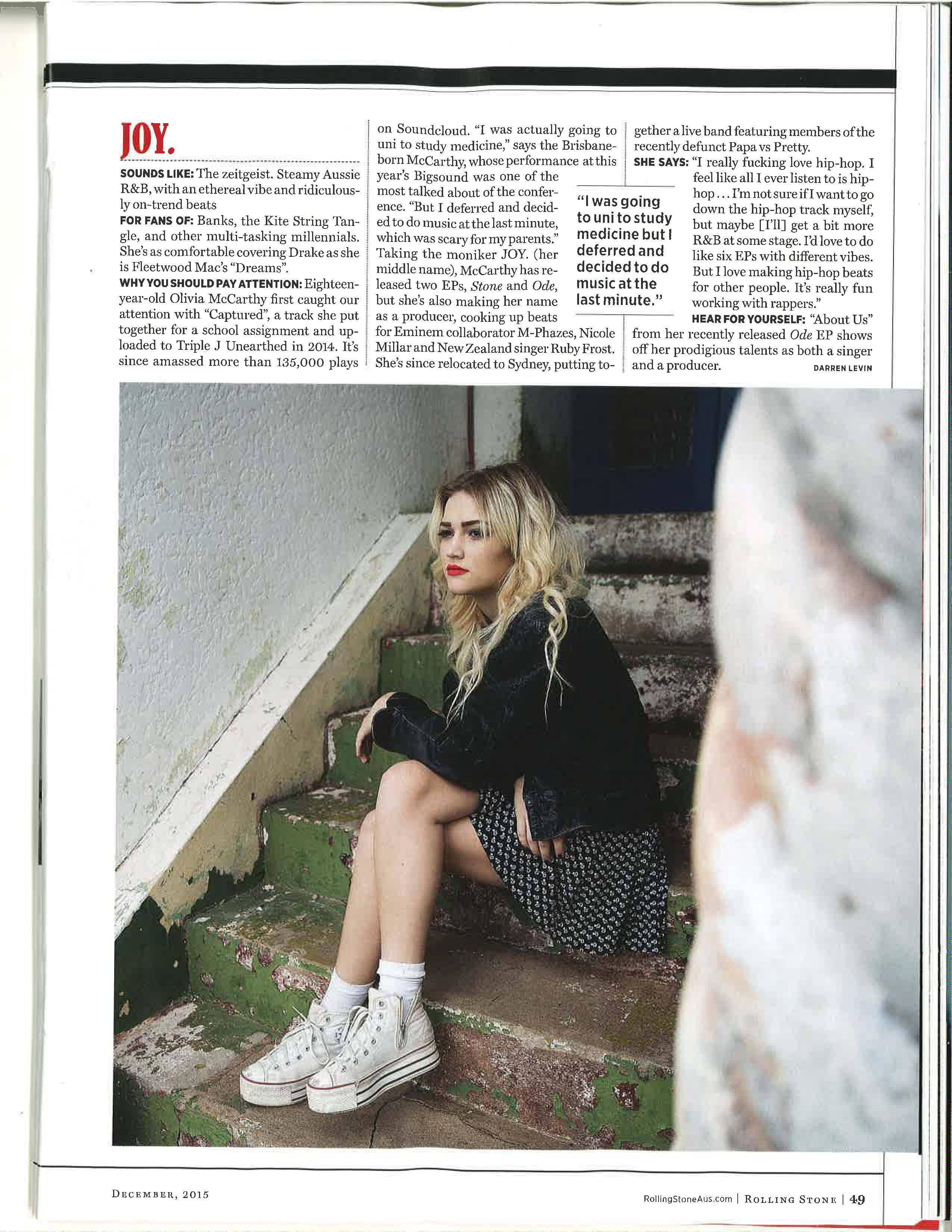 JOY Rolling Stone Dec 2015